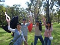 Amazing Fantastic race participants in a park