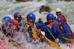 White water rafting team building activity