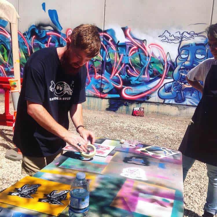 Street art stencil workshop team building events Melbourne