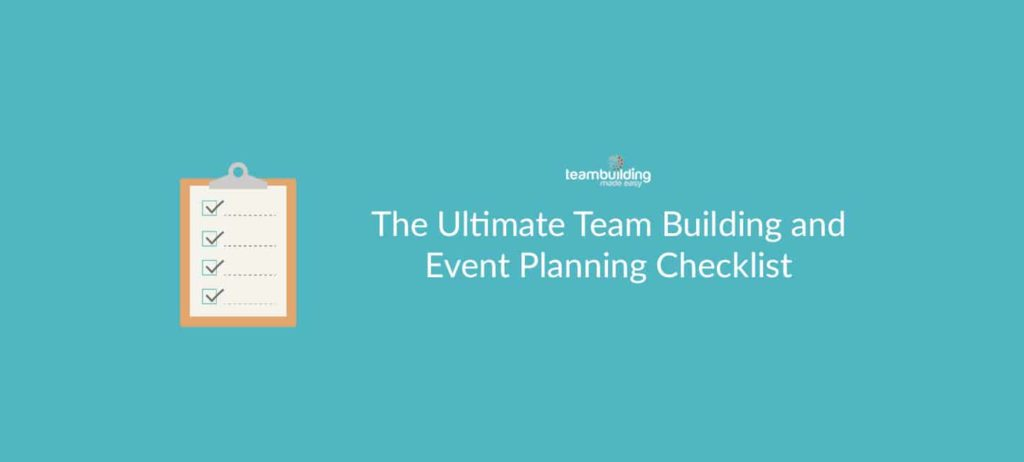 Free team building and event planning checklist banner with clipboard ticking off list