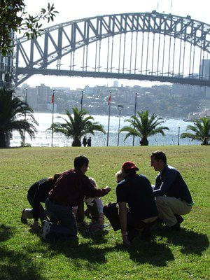 team participating in a team building activity in Sydney
